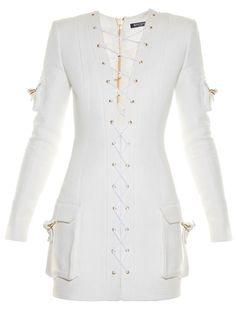 Balmain Lace-up cargo-pocket mini dress   Available at MATCHESFASHION.COM