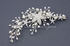 Starfish Wedding Hair Clip with Rhinestones and Pearls from Cassandra Lynne