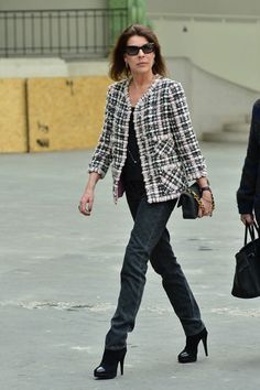 Princess Caroline was spotted on attending a Chanel show in March 2013 wearing a chic Chanel blazer and black trousers.