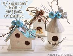 Craft-O-Maniac: DIY Embellished Dollar Bird House Ornaments perfect for next year's bird house themed tree! Diy Christmas Star, Christmas Ornament Crafts, Holiday Crafts, Christmas Decorations, Kids Christmas, Birdhouse Craft, Birdhouse Designs, Bird Houses Painted, Bird Houses Diy