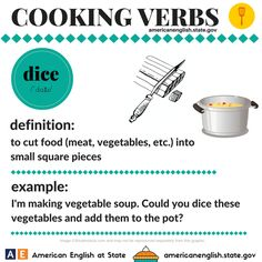 Cooking Verbs: dice