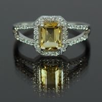 Ring With 1.39ctw Citrine and Cubic zirconia