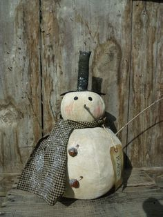 Primitive Grungy Mr Flakey Snowman Doll | eBay