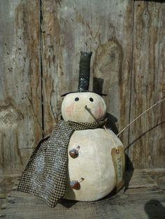 Primitive Grungy Mr Flakey Snowman Doll   eBay