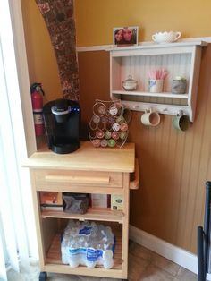 My Coffee Bar - cart and shelf TRASH PICKED! Mugs and containers repurposed, and Keurig was a house warming gift = FREE! Diy Kitchen Decor, Kitchen Ideas, Home Decor, Coffee Bar Design, Coffee Carts, Coffee Corner, Keurig, Drinking Tea, Bar Cart