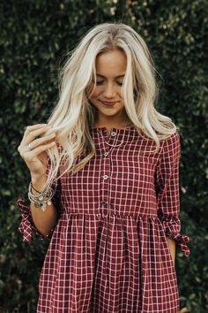 "Burgundy + White Plaid Dress Sleeve + Ribbon Tie Cuff Button Up Front Gather. - ""Fashions fade, style is eternal. Mode Outfits, Fall Outfits, Fashion Outfits, Womens Fashion, Dress Fashion, Fashion Clothes, Plaid Dress, Shirt Dress, Burgundy Dress"