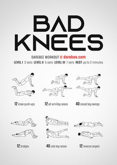 Bad Knees Workout - Level 3 Strength - Perfect İdeas For Doing Exercise Gym Workout Tips, At Home Workout Plan, At Home Workouts, Easy Daily Workouts, Couch Workout, Stretches Before Workout, Workout Pics, Aerobics Workout, Cardio Workouts
