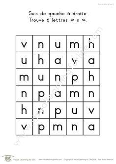 Dans les fiches de travail « Suivi de lettres de base » l'élève doit trouver toutes les lettres identiques à celle indiquée dans les instructions.