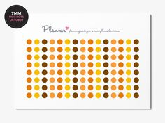 October Erin Condren colors - Mini Dots Planner Stickers - Set of 120 7mm circles