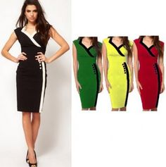 NEW ARRIVAL BRITISH STYLE WOMEN XXL SEXY V NECK FASHION SLIM PACKAGE HIP  PENCIL DRESS OL cc0acfe43671