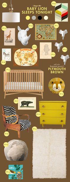 safari baby nursery inspiration board -- faux taxidermy in bright colors to make it brighter!