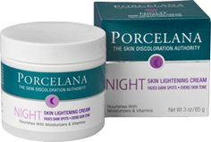 Porcelana® Night Skin Lightening Cream I used this to lighten acne scars, dark elbows and knees.   It worked so well!  I really wish I had taken before and after photos.  It's available at Rite Aid and Walgreen's for around $8.