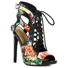 Justfab Heeled Sandals Jasline ($40) ❤ liked on Polyvore featuring shoes, sandals, floral, high heel sandals, lace up heel sandals, heeled sandals, high heel platform shoes and cut out sandals
