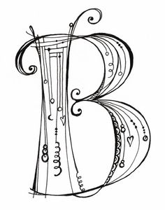 """This black & white """"B"""" is part of the new Zenspirations Dangle monogram alphabet I created for my new book, Zenspirations Dangle Designs."""