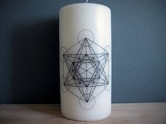 Candle - Metatron's Cube - White - Occult - Sacred Geometry