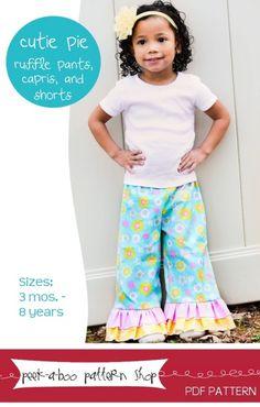 Cutie Pie Ruffle Pants, Capris and Shorts