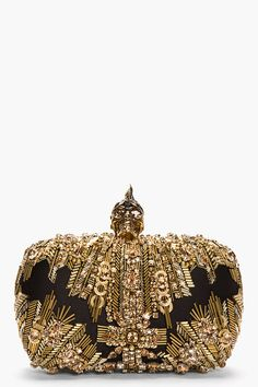 Alexander Mcqueen Gold Lace Punk Skull Glory Embroidered Box Clutch