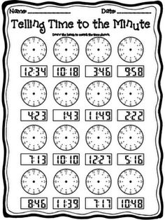 Used this for my daughter who's struggling with telling time. Telling time to the minute worksheet Telling Time Activities, Teaching Time, Student Teaching, Math Activities, Math Measurement, Second Grade Math, Homeschool Math, Homeschooling, Fun Math