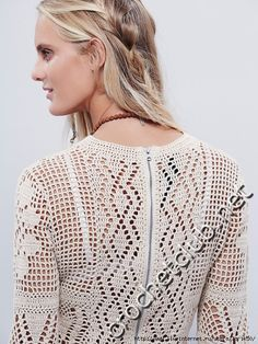 crochelinhasagulhas: Blusa com manga longa em crochê filé
