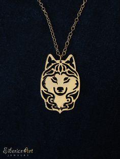 siberian hasky necklace  gold by SiberianArt on Etsy, $115.00