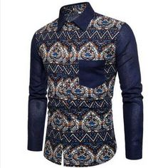 Mens Spring Shirt Creative Newspaper Print Slim Button Lapel Blouse Top by Balakie