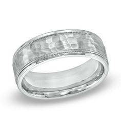 Men's 7.5mm Comfort Fit Hammered Cobalt Wedding Band - Size 10  - Peoples Jewellers 199
