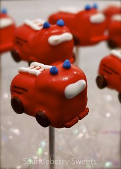 fire engine cake pops - for my fire captain Fun Cupcakes, Cupcake Cakes, Cake Pops, Fire Engine Cake, Cake Pop Displays, Truck Cakes, Marshmallow Treats, Cake Shapes, Just Cakes
