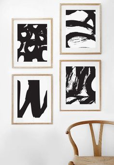 Abstract print Abstract art Black and white Minimalist