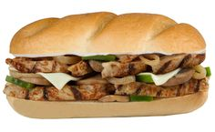 Mr. Hero's Grilled Chicken Philly! Marinated all white meat chicken strips, sauteed mushrooms, grilled onions, green bell peppers mayo and melted Swiss-American cheese served on a fresh baked Oralndo roll! Phill-icious!