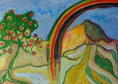Vogel mit Regenbogen 50x70 cm Öl