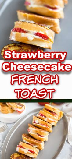 Fresh strawberries and cream cheese are stuffed into French bread slices for this delicious stuffed French toast recipe! Strawberry Bread Recipes, Lemon Recipes, Strawberry Cheesecake, Quick Bread Recipes, Cooking Recipes, Cooking Tips, Smoothie, Muffins, Savory Breakfast