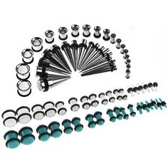 2pc 16 Guage 1.2mm Tapers 316L Surgical Steel Tapers 16g Plugs Earlets Double Black O-Rings