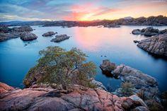 USA, Jezioro, Wschód, Słońca, Skały, Drzewo