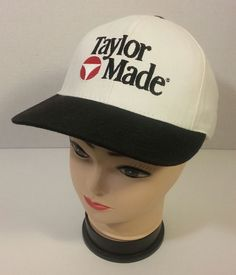 Vintage Taylor Made Golf Baseball Hat Cap Made in USA White Black Adjustable  #TaylorMade #BaseballCap