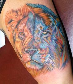 Colored lion tattoo. Great use of blue as a contrasting color for shading.