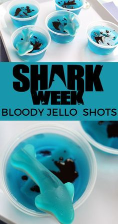 These are such a fun Shark Week snack! Make these Shark Week jello shots to celebrate the kick off of National Geographic's Shark Week. Don't worry, they can be made kid-friendly! Strawberry Margarita Jello Shots, Strawberry Jello Shots, Champagne Jello Shots, Cocktail Shots, Cocktails, Strawberry Desserts, Best Jello Shots, Making Jello Shots, Jello Pudding Shots