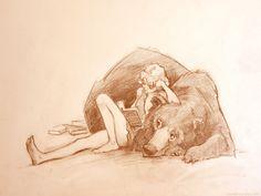 Everyone needs a book bear Lane Brown Art: Book Bear. Everyone needs a book bear Art And Illustration, Illustrations, Kunst Inspo, Art Inspo, Fantasy Kunst, Fantasy Art, Animal Drawings, Art Drawings, Bear Sketch