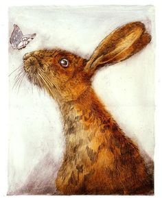 The atmosphere of this etching is a lot more cheerful, the gracefulness of the butterfly against the harsh orange hare is really good contrast. Hare Illustration, Illustrations, Jack Rabbit, Rabbit Art, Rabbit Head, Bunny Art, Illustrator Tutorials, Wildlife Art, Folk Art