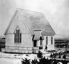 First church built in Pasadena on California and Orange Grove 1875