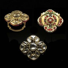 A Diamond And Enamel Ring, North India, 20th century, 3 x 3cm, 17.9grams, A 22 karat gold ring in the form of a flower inset in the kundan style with flat-cut diamonds. The shank and reverse decorated in red white blue and green enamels