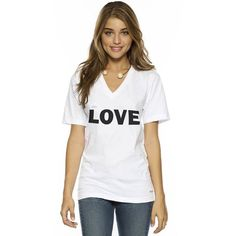 Peace Love World I am Love V-Neck Tee (2,450 INR) ❤ liked on Polyvore featuring tops, t-shirts, white v neck t shirt, white cotton t shirts, v neck t shirts, white graphic tees and bleached t shirt