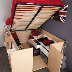 SPACE-UP - bed with storage for 2, made in France. #TinyHouse