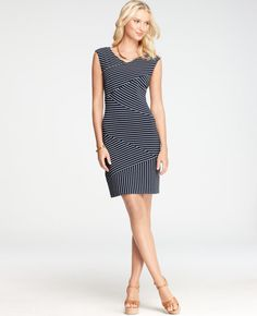 Striped Diagonal Seamed Dress