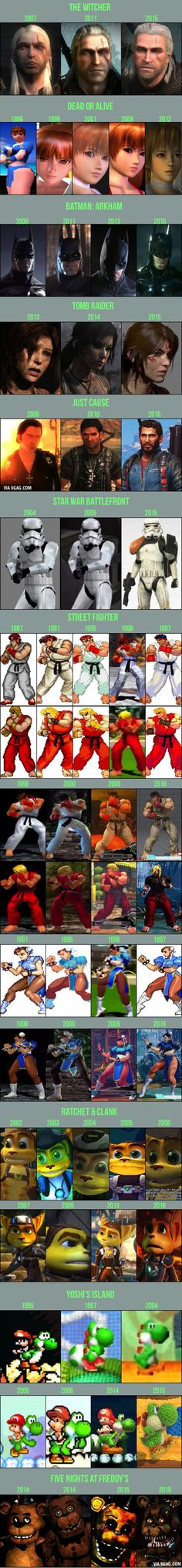 Evolution of 12 popular game characters