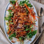 Vietnamese noodle salad with pork chops has fantastic texture and flavor. Add the spicy, garlicky, tangy nuoc cham sauce is the dish is absolute perfection! Vietnamese Pork Chops, Asian Pork Chops, Vietnamese Noodle Salad, Seared Pork Chops, Grilled Pork Chops, Vietnamese Food, Noodle Recipes, Pork Recipes, Asian Recipes