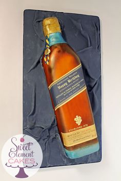 Johnnie Walker Whiskey Bottle Birthday Cake by Sweet Element Cakes