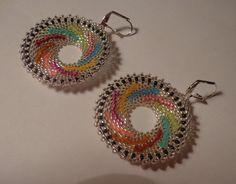 Tutorial earrings beads peyote circular Rocailles Miyuki