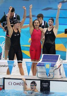 Allison Schmitt, Dana Vollmer, Rebecca Soni and Missy Franklin of the USA Swim Team seen winning the gold medal at the Aquatics Centre, London 2012 Olympic Games.