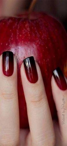 awesome-red-and-black-ombre-nail-fall-nail-art ar. - awesome-red-and-black-ombre-nail-fall-nail-art art - Black Ombre Nails, Burgundy Nails, Red Nails, Dark Ombre, Red Ombre, Nail Black, Cherry Nails, Gradient Nails, Pastel Nails