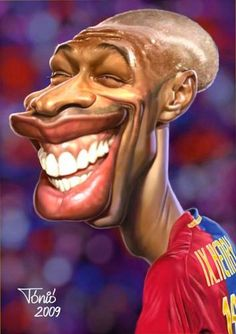 Thierry Henry :v Cartoon Faces, Funny Faces, Cartoon Characters, Caricature Artist, Caricature Drawing, Funny Caricatures, Celebrity Caricatures, Cinema Tv, Fine Boys